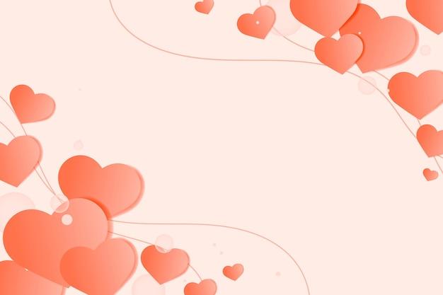 Corazón en bordes decorados sobre fondo naranja claro