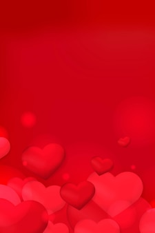Corazón burbuja bokeh patrón fondo rojo