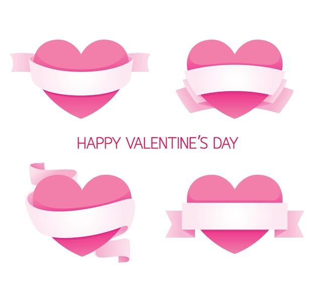Corazón con cinta conjunto de banners, día de san valentín, amor, boda, relación