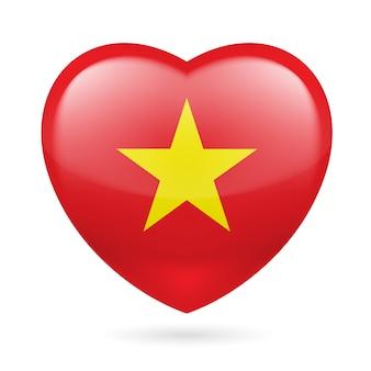 Corazón con colores de la bandera vietnamita. amo vietnam