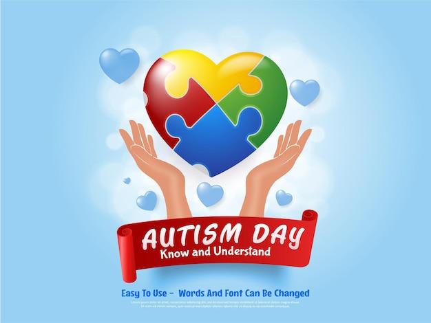 Corazón colorido del día mundial del autismo