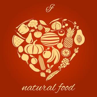 Corazón de comida natural
