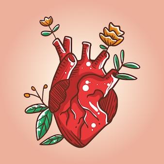 Corazón crece ilustración rosas