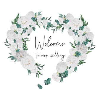 Corazón de decoración de boda acuarela con peonías blancas