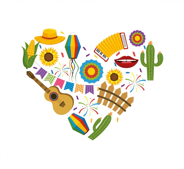 Corazón con decoración de fiesta junina para fiesta