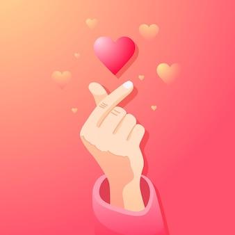 Corazón de dedo degradado