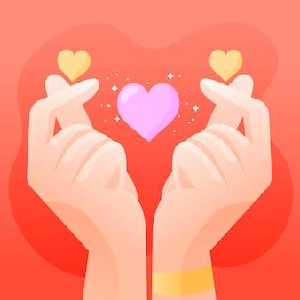 Corazón de dedo dibujado a mano
