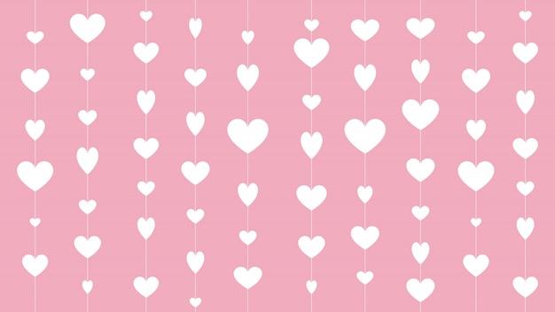 Corazón para el día de san valentín en fondo rosa 14 de febrero.