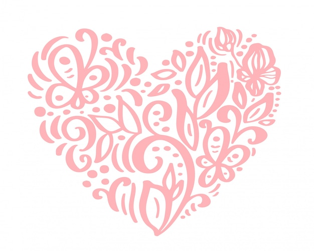 Corazón dibujado a mano amor flores de san valentín