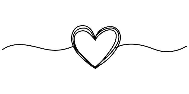 Corazón dibujado a mano con línea delgada, forma de divisor, garabato redondo sucio enredado aislado sobre fondo blanco.ilustración de vector