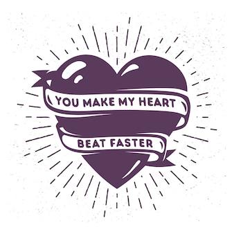 Corazón de dibujos animados con cinta y frase romántica
