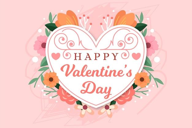 Corazón de diseño plano floral para el feliz día de san valentín