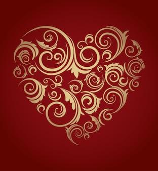 Corazón elegante con remolinos dorados