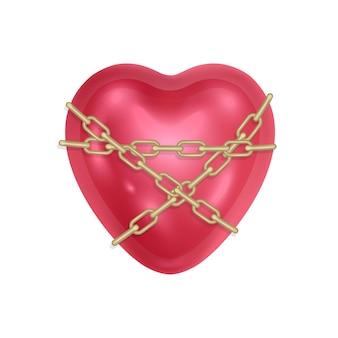 El corazón está envuelto con una cadena y corazón rojo cerrado.
