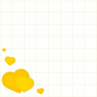 Corazón esquina borde cuadrícula patrón fondo amarillo