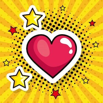 Corazón con estrellas estilo pop art