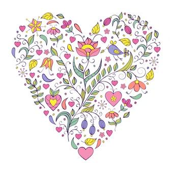 Corazón floral de san valentín