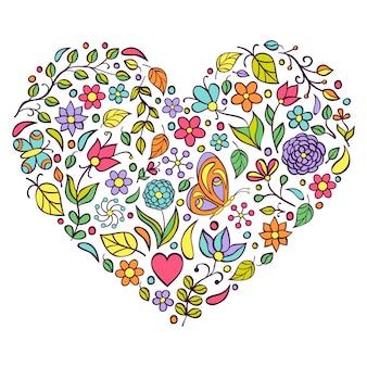 Corazón floral sobre fondo blanco.