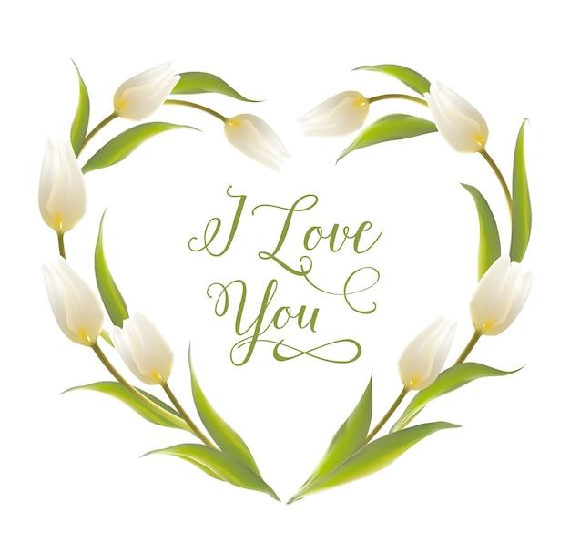 Corazón floreciente del marco del tulipán.