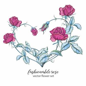Corazón de flores rosas. rosa rosada. arreglo floral.