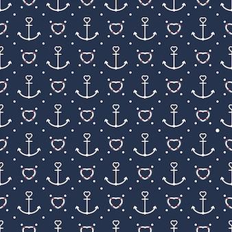 Corazón forma náutica símbolo tema transparente patern
