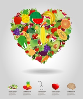Corazón de frutas y verduras, diseño de plantilla de ilustración