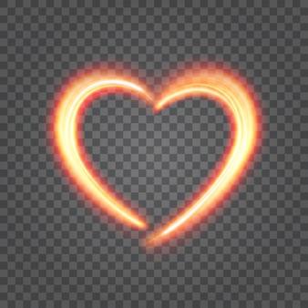 Corazón de fuego ligero aislado en ilustración de transparencia