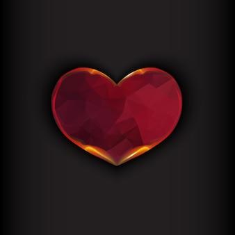 Corazón de fuego sobre fondo negro