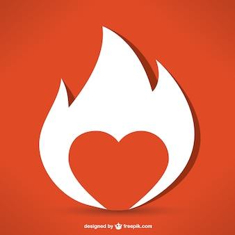 Corazón de fuego Vector Premium