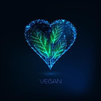 Corazón futurista resplandor bajo poli con hojas verdes