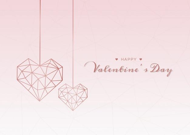 Corazón geométrico de san valentín