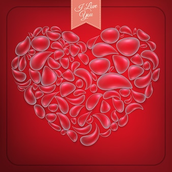 Corazón de gotas de agua sobre fondo rojo