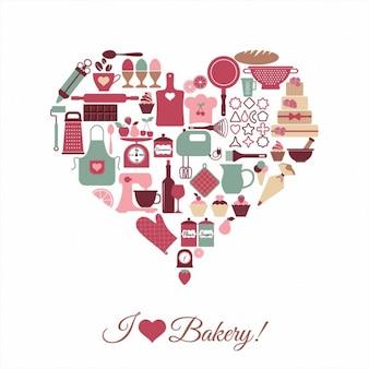 Corazón hecho con elementos de panadería