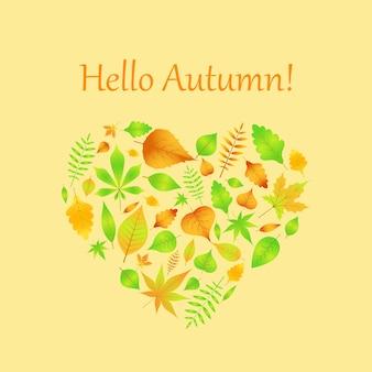 Corazón de hojas de otoño