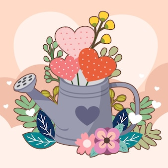 Corazón en la lata de agua y flores y hojas en rosa