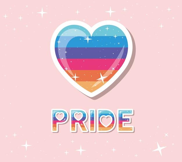 Corazón de lgtbi con diseño de texto de orgullo