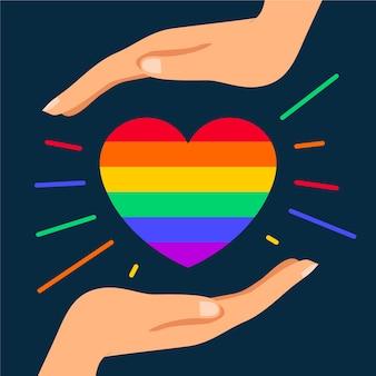 Corazón lindo del arco iris ilustrado