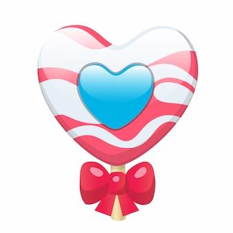 Corazón lindo precioso de la piruleta del caramelo de la historieta con el arco rojo.