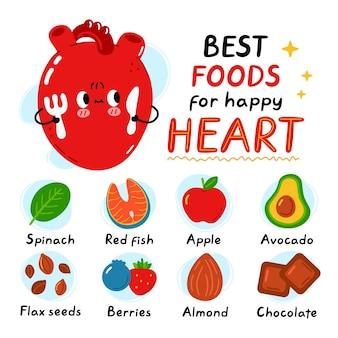 Corazón lindo con tenedor y cuchillo. los mejores alimentos para la infografía de corazón sano y feliz. vector plano doodle icono de ilustración de personaje de kawaii de dibujos animados. aislado en el fondo blanco infografía de alimentos saludables