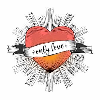 Corazón llama vector mano dibujo línea boceto