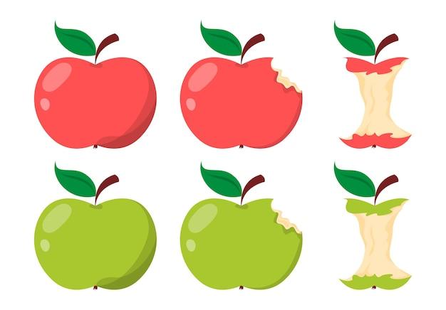 Corazón de manzana verde y roja