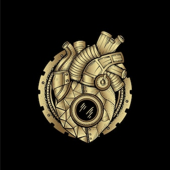 Corazón mecánico, ilustración de tarjeta con dibujo a mano esotérico, boho, espiritual, geométrico, astrología, temas mágicos, para tarjeta de lector de tarot