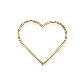 Corazón de metal dorado romántico en diseño minimalista. ilustración.