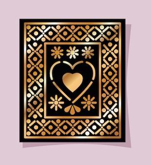 Corazón mexicano de oro y negro en el diseño del marco.
