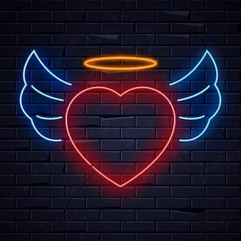 Corazón de neón iluminado amor
