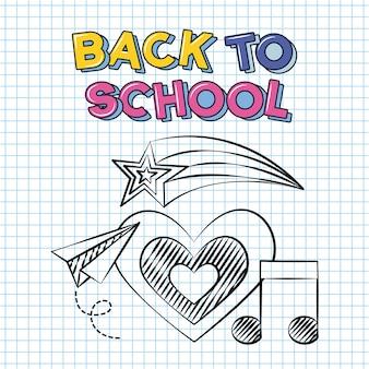 Corazón, nota musical y avión de papel, doodle de regreso a la escuela dibujado en una hoja de cuadrícula