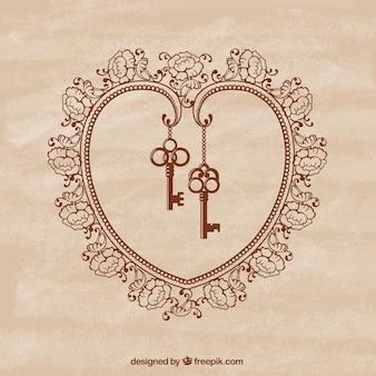 Corazón ornamental con llaves retro