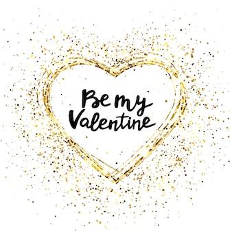 Corazón de oro brillo y texto para tarjeta de felicitación.