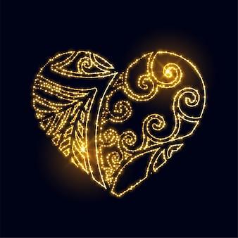 Corazón de oro creativo de lujo hecho con fondo de destellos