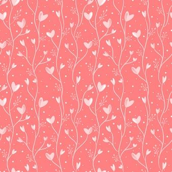 Corazón de patrones sin fisuras y flores